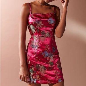 urban waterlily jacquard straight-neck dress